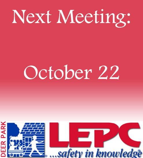 Pink and white gradient with LEPC logo and next meeting text