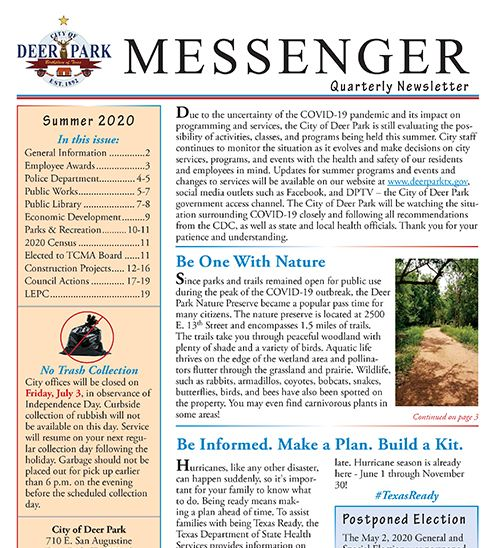 2020 Summer messenger news item